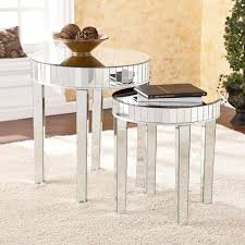 amazon com round mirrored nesting table 2pc set kitchen dining view larger