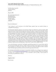 Writer Cover Letter Journalism Cover Letter