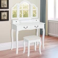 Mirrored Vanity Stool Best Choice Products Bathroom Tri Mirror Vanity Table Set W Stool