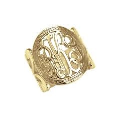 gold monogram ring gold monogram ring nautical script be monogrammed