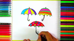 learn how to draw and color umbrellas for kids drawing and