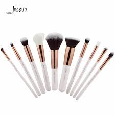 jessup pearl white rose gold professional makeup brushes set make