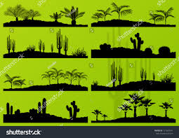 desert halloween background desert cactus plant exotic palm trees stock vector 121623241