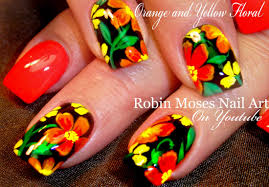 diy summer nails orange flower nail art design tutorial