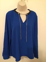 royal blue blouse top calvin klein royal blue blouse top shirt black leather trim and