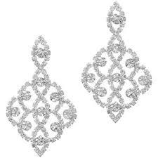 chandelier earring silver diamante lace chandelier earring jon richard