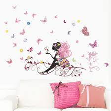 flower fairy stickers promotion shop for promotional flower fairy new butterfly flower fairy stickers bedroom living room walls anime poster decoration maison autocollant