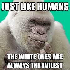 Ape Meme - just like humans the white ones are always the evilest statutory