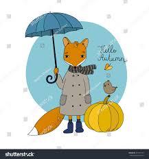 halloween background small cute cartoon fox under umbrella small stock vector 471555125