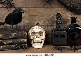 rustic halloween scene against an old wooden background stock