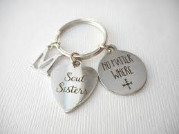 Wedding Gift For Sister Soul Sisters No Matter Where Initial Keychain Jewelry For Big