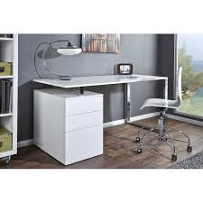 bureau blanc laqué brillant bureau design avec rangement coloris blanc brillant bureau