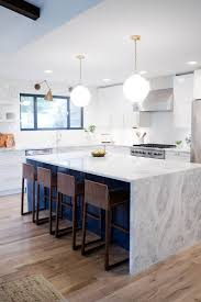 full image for modern kitchen design with white washed wood floors