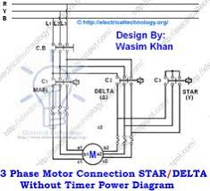 three phase motor star delta y δ reverse forward with timer