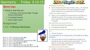 geometry thursday warm ups discussion notes guided practice ppt