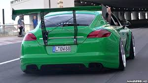 stanced porsche 911 the craziest porsche panamera ever loud slammed huge wing