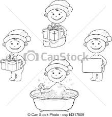 vector clipart cartoon children santa hat outline