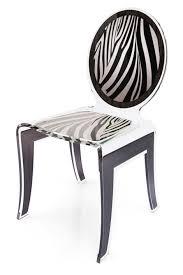 chaise medaillon transparente chaise médaillon zèbre en plexiglas transparent acrila