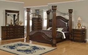 Black Canopy Bed Frame Bedroom Antique Carving Wood King Size Canopy Bed Frame Design