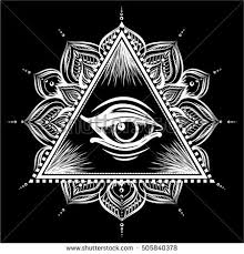 all seeing eye pyramid symbol floral stock vector 505840378