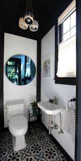 Black And White Powder Room A Dreary Laundry Room Is Now A Place You Actually Want To Be