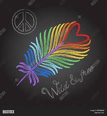 rainbow feather peace sign vector photo bigstock
