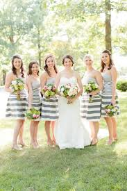 nautical wedding party unique bridesmaid dresses in stripe and polka dot prints wedding