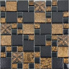 black porcelain mosaic tile designs gold glass tiles bathroom wall