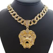 gold tone necklace set images Wg jewelry hip hop bling 14k gold tone plated lion head pendant jpeg