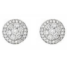 diamond cluster earrings 1 0 ct t w diamond cluster earrings in 14k white gold h i i1