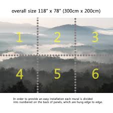 wall mural mountains with fog peel and stick repositionable