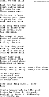 christmas powerpoints song carol of the bells lyrics ppt for