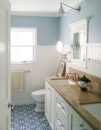 bathroom sky blue wall with high white wainscoting bathroom and