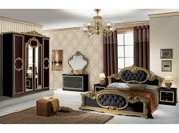 chambre et noir baroque ensemble de chambre lit chevets armoire commode pas chère