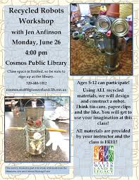cosmos public library recycled robots craft workshop for kids