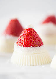 Snowberries White Chocolate Dipped Strawberries White Chocolate Strawberry Santa Hats With A Reese U0027s Base So