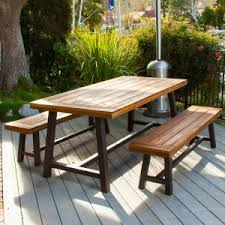 picnic table with separate benches wood picnic tables hayneedle