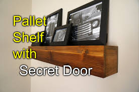 pallet shelf with secret compartment speakeasy rustic style