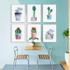 living room prints modern watercolor cactus poster nordic wall art canvas painting