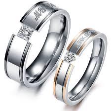 rings love couple images Hooami men 39 s women 39 s stainless steel my love hearts jpg
