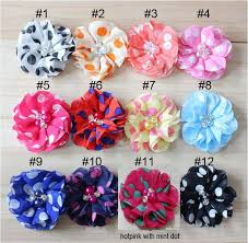 flowers for headbands 2 polka dot chiffon flower with rhinestone fabric flowers for