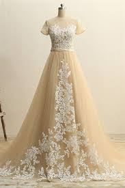 a line short sleeve champagne tulle ivory applique wedding dress