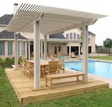 Shade Ideas For Backyard Exterior White Wooden Pool Shade Pergola Added Natural Wooden
