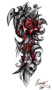 Tribal Tattoos With Roses - skull by patrike on deviantart