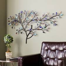 Home Sculpture Decor Metal Wall Art Tree Weeping Willow Multi Color Glass Sculpture