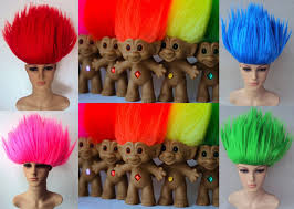 Purple Wig Halloween Costume Deluxe Troll Doll 90s Spiky Bright Costume Wigs Costume Wigs