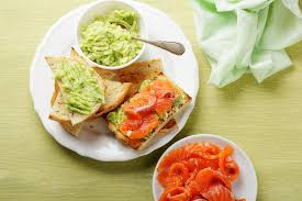 healthy canapes dinner canape with salmon and avocado sauce stock image image of white