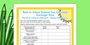 how to find a classmate back to school summer classmate scavenger hunt
