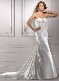 and flare mermaid sweetheart ruched satin wedding dress with