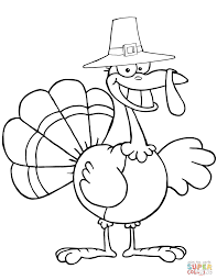 cartoon pilgrim turkey coloring page free printable coloring pages